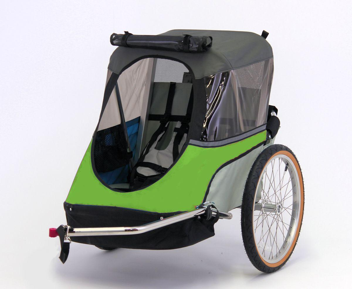 Wike-Junior-Bicycle-Trailer-green-gray-open