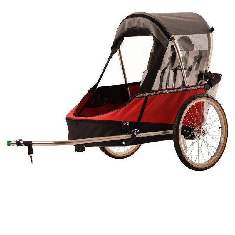 Child moonlite bike trailer red quarter up