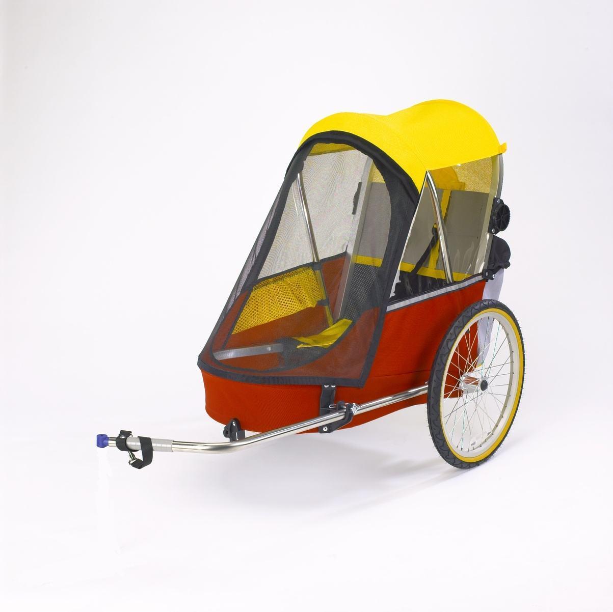 Premium single bicycle trailer red yellow